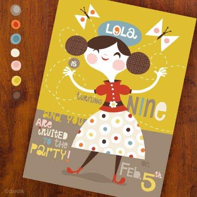 Orange your Lucky (Helen Dardik) Dardik_Lola_9th_BirthdayInvitation
