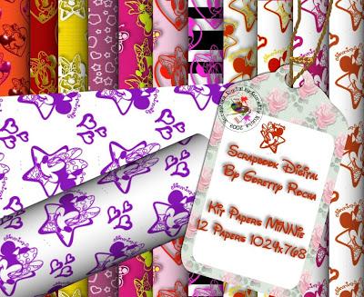 {Kits Digitais} Disney - Mickey, Minnie, Baby Disney Minie_papers_byGorettyRocha_preview