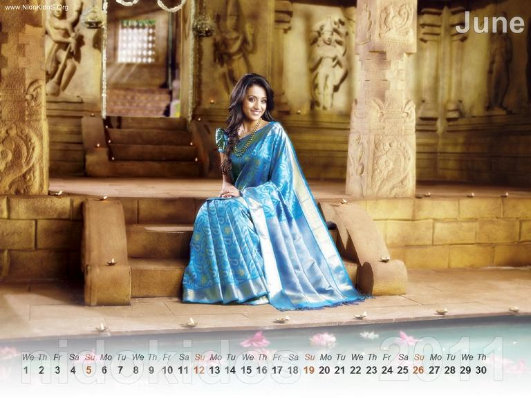 Trisha Krishnan Trisha-New-Year-Calendar-2011-Desktop-Calendar-June