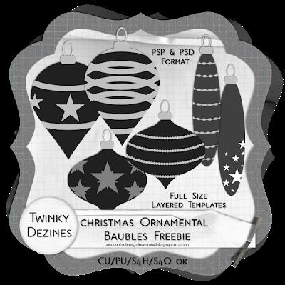 CU Christmas Ornamental Bauble Freebie! by Twinky TwinkyBaublesPreview