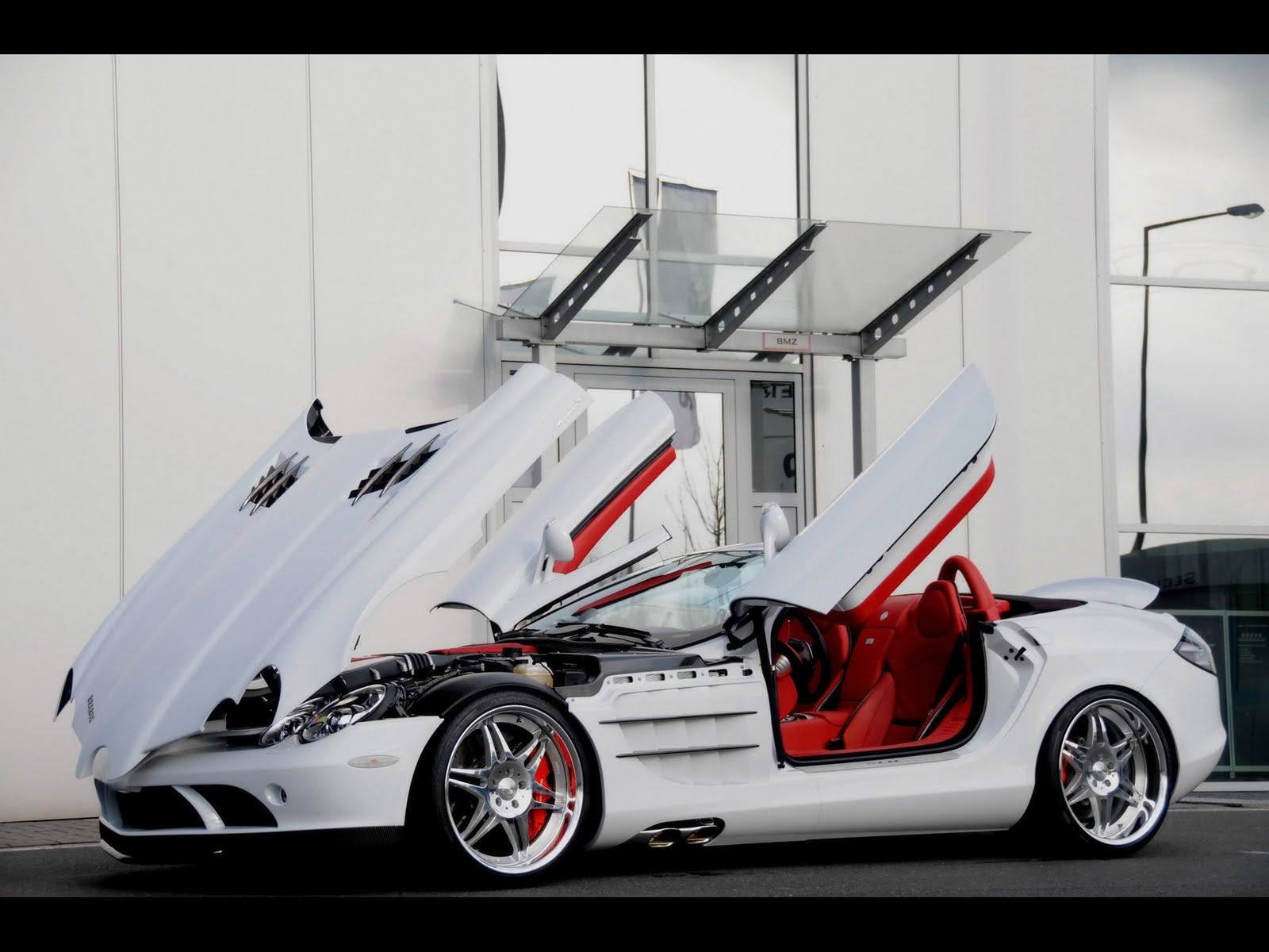 mercedes benz slr mclaren 2008-brabus-mercedes-benz-slr-mclaren-roadster-and-brabus-smart-ultimate-112-tender-package-slr-mclaren-side-angle-open-doors-and-hood-1920x1440