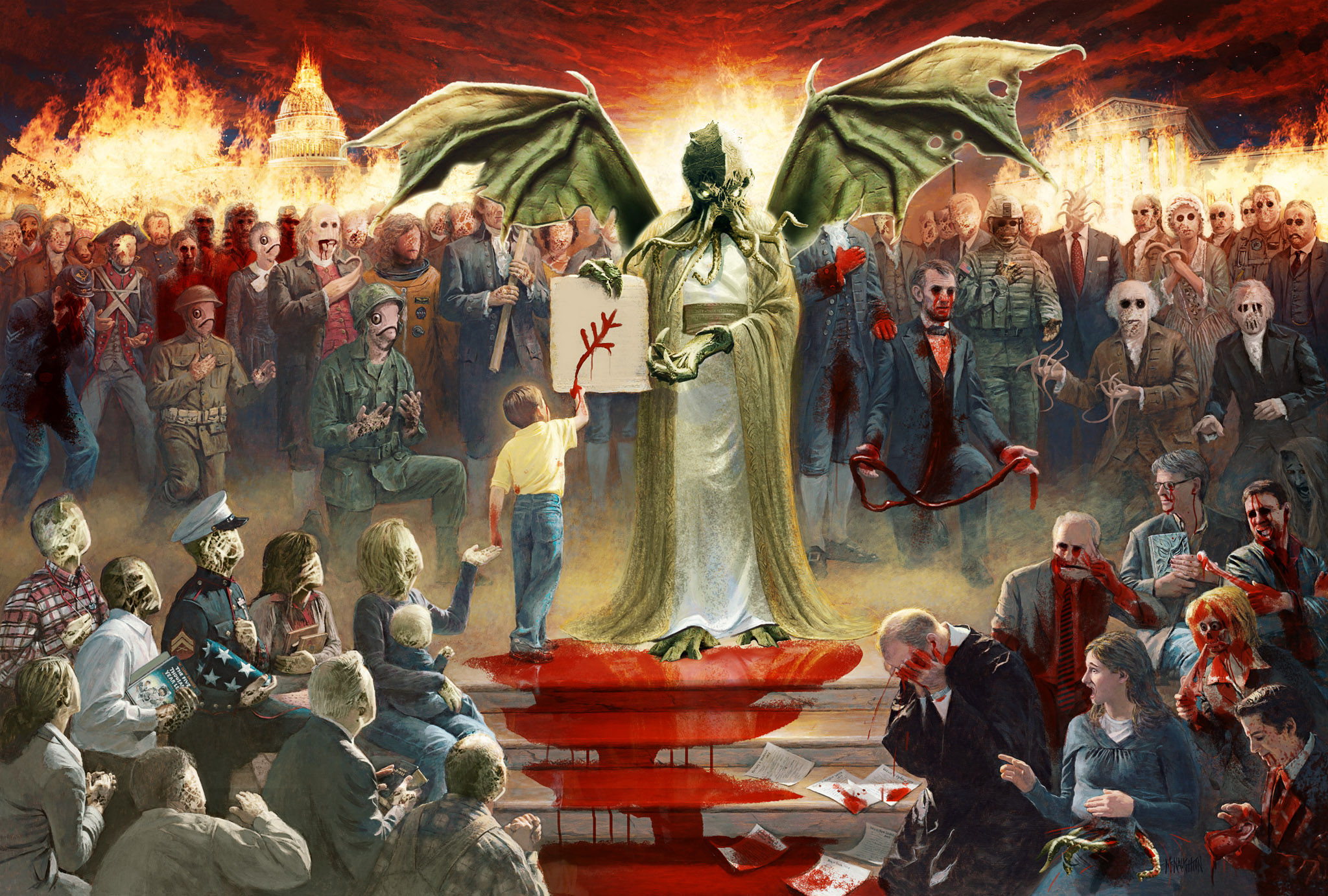 One nation under Cthulhu Mcnaughton-fine-art-one-nation-under-god-parody-jesus-cthulhu-blood-monsters