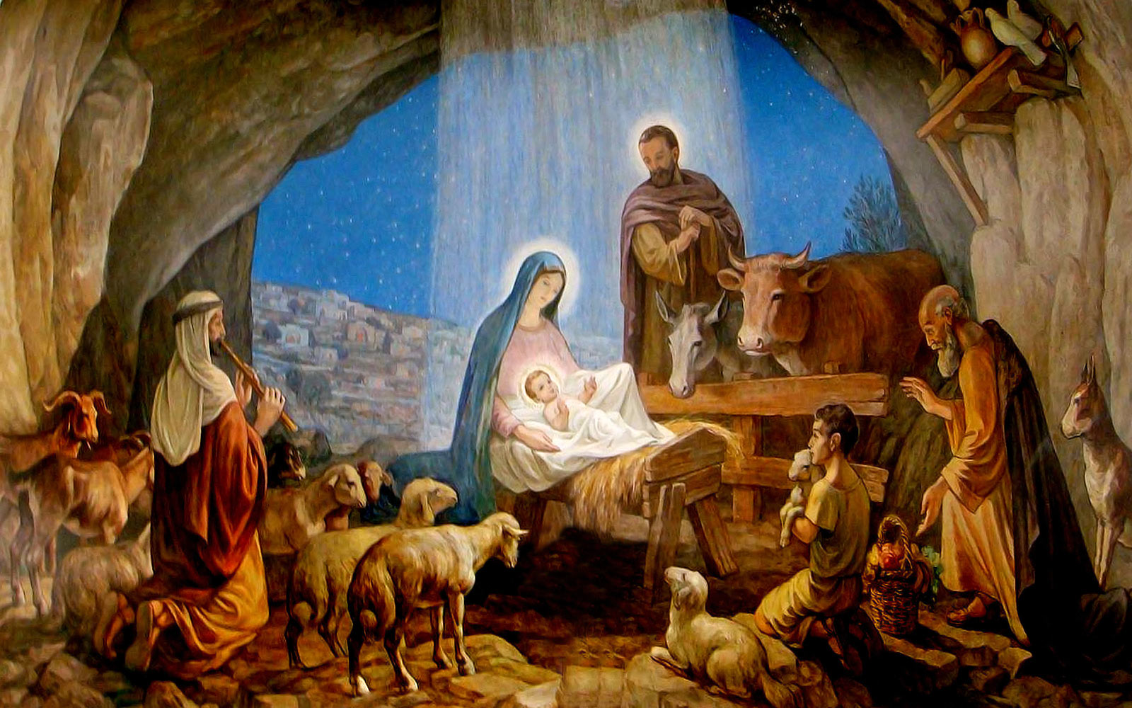 Áldott, Békés, Boldog Karácsonyt! Nativity-scene