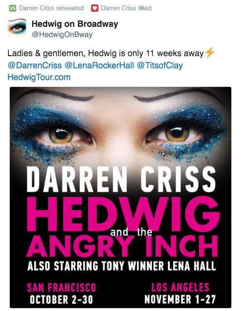 hedwig - The Hedwig and the Angry Inch Tour in SF and L.A. (Promotion, Pre-Performances & Miscellaneous Information) Tumblr_oakur4N43p1uetdyxo1_500