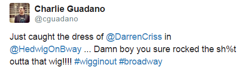 Rainbow - Fan Comments and Reviews, and Comments from others, who saw Darren in Hedwig and the Angry Inch on Broadway  Tumblr_nnjmotCcRo1uo6446o1_500