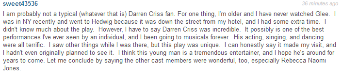 broadway - Fan Comments and Reviews, and Comments from others, who saw Darren in Hedwig and the Angry Inch on Broadway  - Page 2 Tumblr_nq5lcz88cz1qbqtkso1_1280