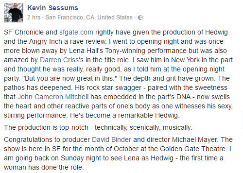 broadwaymusical - Fan Reviews, Media Reviews, and comments from members of the Media, about Darren in Hedwig and the Angry Inch--SF and L.A. Tour  Tumblr_oeph60ZEF21uetdyxo1_500