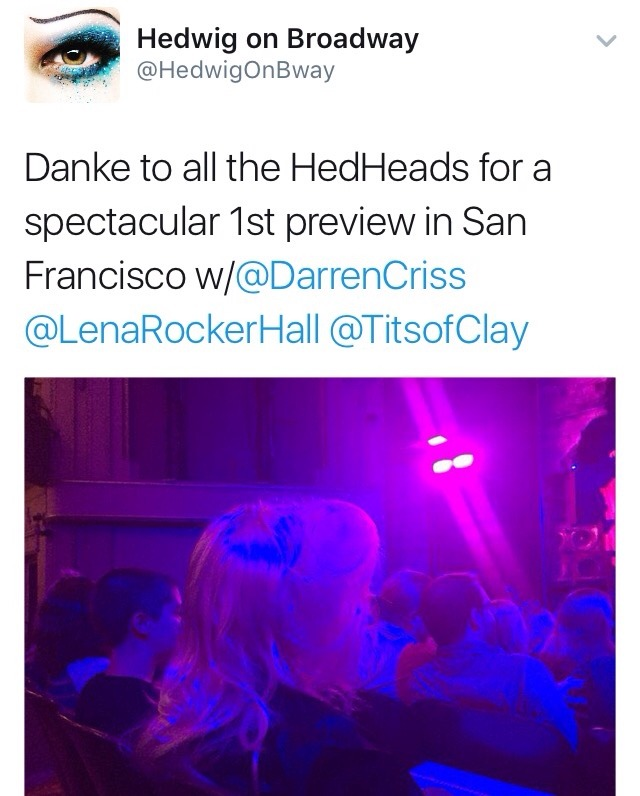 "hedwigram - Pics, gifs, media videos, curtain call videos, stage door videos, and posts of ""who saw Darren"" in Hedwig and the Angry Inch--SF and L.A. (Tour),  Tumblr_oeg7t1iSMS1ubd9qxo1_1280"
