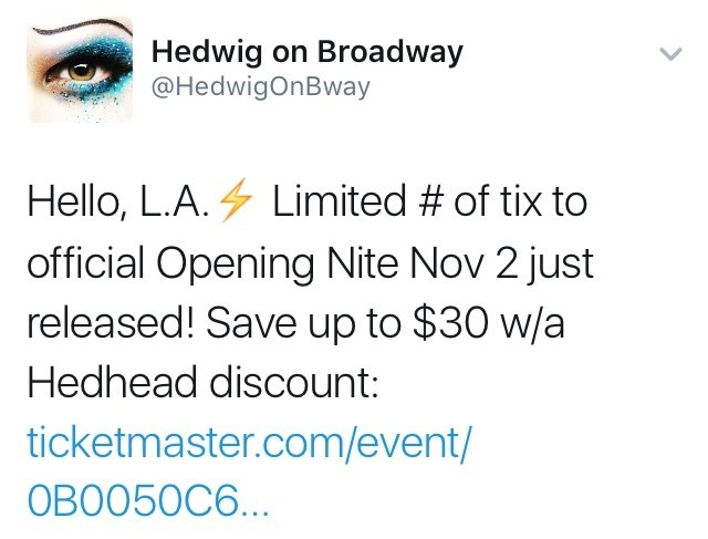 lenahall - The Hedwig and the Angry Inch Tour in SF and L.A. (Promotion, Pre-Performances & Miscellaneous Information) - Page 6 Tumblr_ofkmpquL771ubd9qxo1_1280