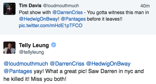 "versace - Pics, gifs, media videos, curtain call videos, stage door videos, and posts of ""who saw Darren"" in Hedwig and the Angry Inch--SF and L.A. (Tour),  - Page 6 Tumblr_ogj93eu6A91uetdyxo1_500"