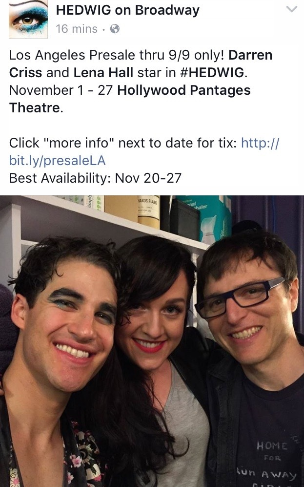 broadway - The Hedwig and the Angry Inch Tour in SF and L.A. (Promotion, Pre-Performances & Miscellaneous Information) - Page 3 Tumblr_od3whhbHfP1ubd9qxo1_1280