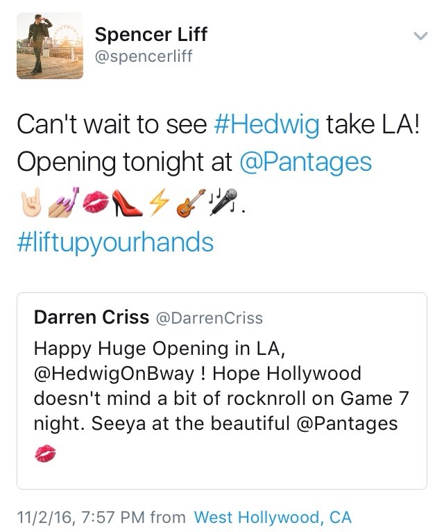 "hedwigram - Pics, gifs, media videos, curtain call videos, stage door videos, and posts of ""who saw Darren"" in Hedwig and the Angry Inch--SF and L.A. (Tour),  - Page 5 Tumblr_og1j1oWwhH1ubd9qxo1_1280"