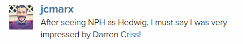 Hedhead - Fan Comments and Reviews, and Comments from others, who saw Darren in Hedwig and the Angry Inch on Broadway  Tumblr_no0e4jghEG1uo6446o1_500