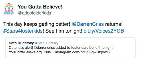 Topics tagged under stars4fosterkids on Darren Criss Fan Community Tumblr_odelv0ZJtr1uetdyxo1_500