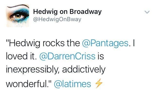 hedwigonbway - Fan Reviews, Media Reviews, and comments from members of the Media, about Darren in Hedwig and the Angry Inch--SF and L.A. Tour  - Page 4 Tumblr_og3cltWp5T1ubd9qxo1_1280