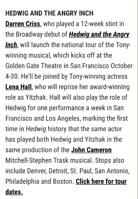 broadway - The Hedwig and the Angry Inch Tour in SF and L.A. (Promotion, Pre-Performances & Miscellaneous Information) - Page 2 Tumblr_oc2xd1y7mI1ubd9qxo1_500