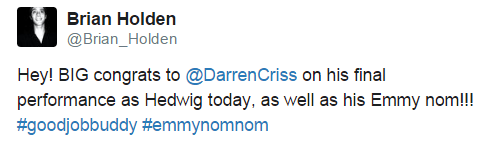 darrenishedwig - Fan Comments and Reviews, and Comments from others, who saw Darren in Hedwig and the Angry Inch on Broadway  - Page 3 Tumblr_nrr7oco4XL1uo6446o1_500