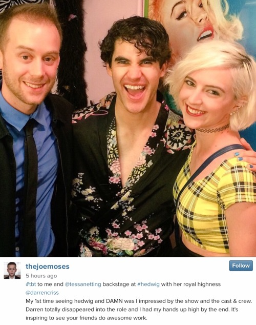 badapplesinthebigapple - Who saw Darren in Hedwig and the Angry Inch on Broadway? Tumblr_npghprNnPh1rwthnqo1_500