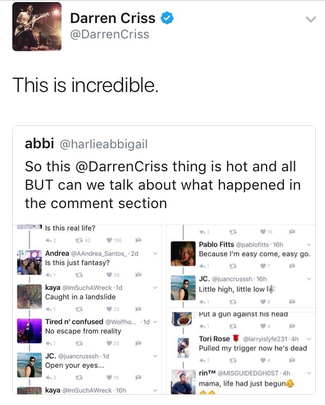 arianadebose - Darren Appreciation Thread: General News about Darren for 2017 - Page 9 Tumblr_or2rvh2knY1ubd9qxo1_1280