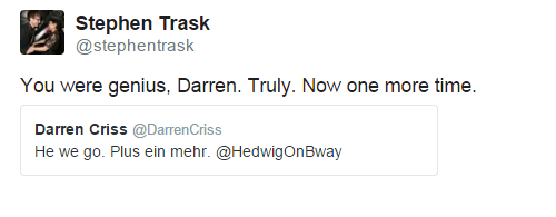 darrenishedwig - Fan Comments and Reviews, and Comments from others, who saw Darren in Hedwig and the Angry Inch on Broadway  - Page 3 Tumblr_nrqzanig7k1r4gxc3o2_500