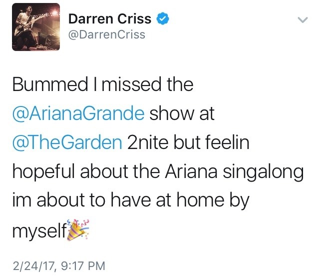 Darren Appreciation Thread: General News about Darren for 2017 - Page 5 Tumblr_olwxctnScS1ubd9qxo1_1280