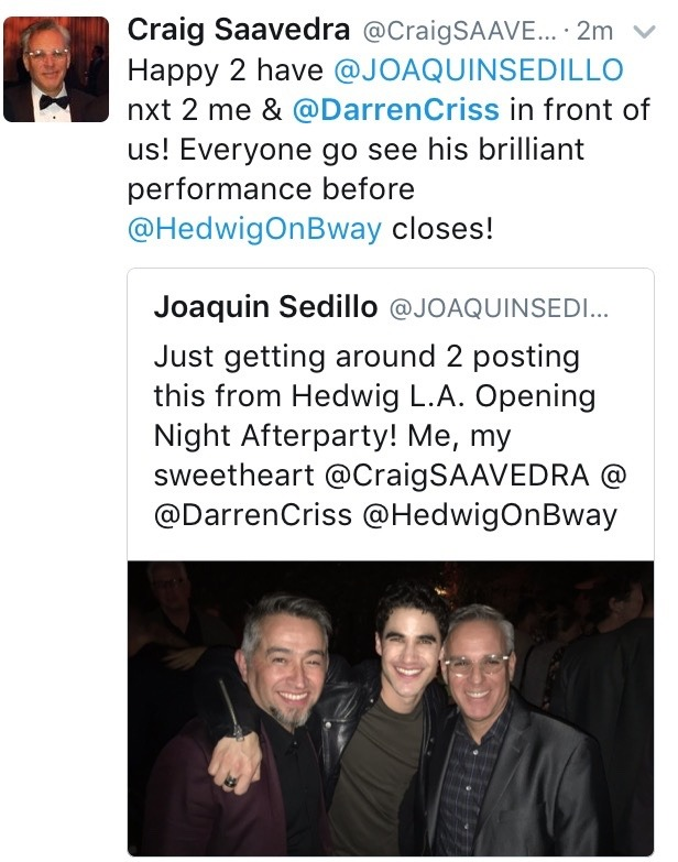 "Stagedoor - Pics, gifs, media videos, curtain call videos, stage door videos, and posts of ""who saw Darren"" in Hedwig and the Angry Inch--SF and L.A. (Tour),  - Page 6 Tumblr_ogi83l6VLd1ubd9qxo1_1280"
