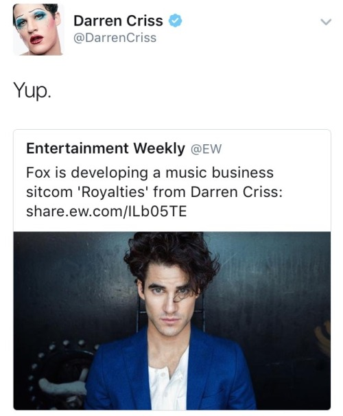 Darren Appreciation Thread: General News about Darren for 2016  - Page 14 Tumblr_ogawxwZXMm1ubd9qxo2_500