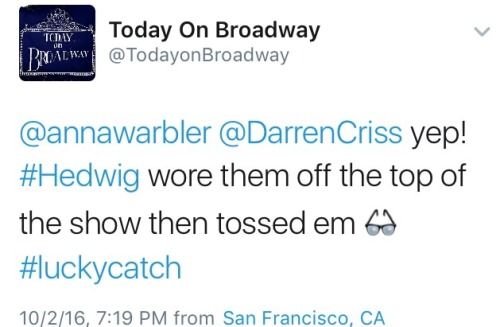 "TRID - Pics, gifs, media videos, curtain call videos, stage door videos, and posts of ""who saw Darren"" in Hedwig and the Angry Inch--SF and L.A. (Tour),  Tumblr_oeg0zjkQpV1ubd9qxo3_500"