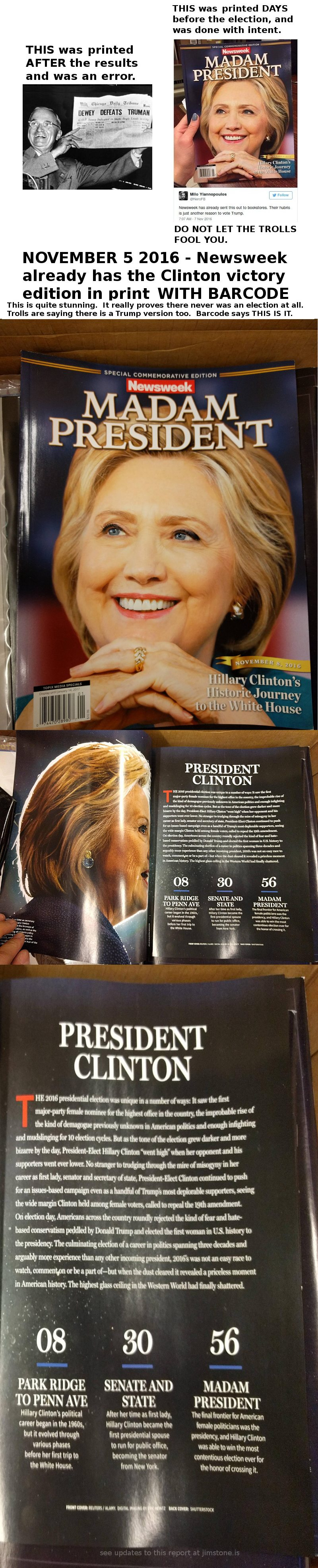 BUSTED: NEWSWEEK ALREADY HAS THE CLINTON VICTORY SPECIAL EDITION IN BOXES READY TO SHIP  Newsweek800