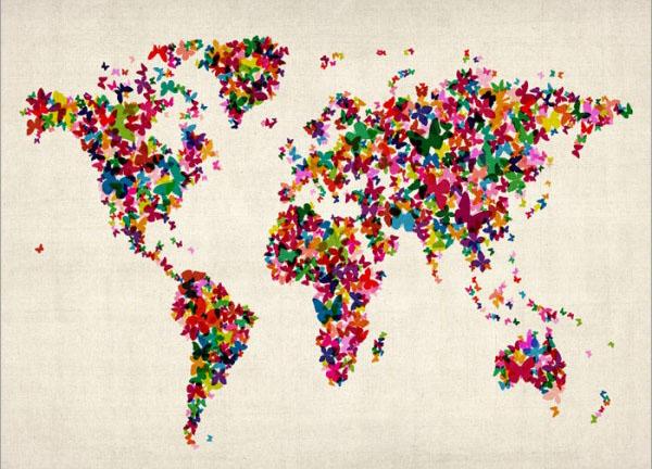 خرائط مجنونة لعالمنا المجنون وكما يقولون الجنون فنون Butterflies-world-map