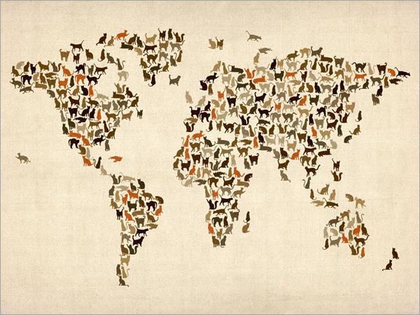 خرائط مجنونة لعالمنا المجنون وكما يقولون الجنون فنون Cats-map