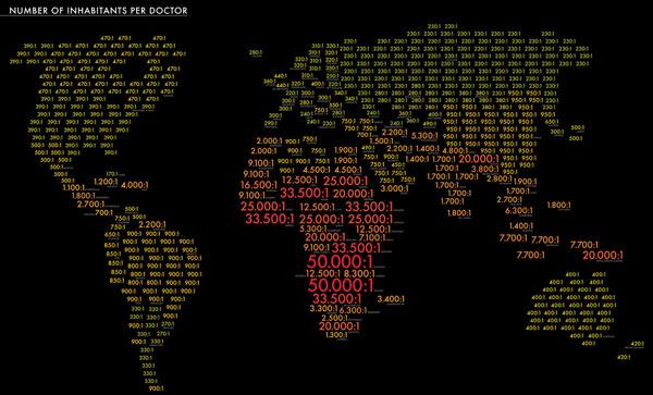 خرائط مجنونة لعالمنا المجنون وكما يقولون الجنون فنون Patient-to-doctor-ratios