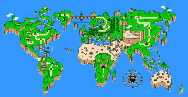 خرائط مجنونة لعالمنا المجنون وكما يقولون الجنون فنون Super-mario-world-map
