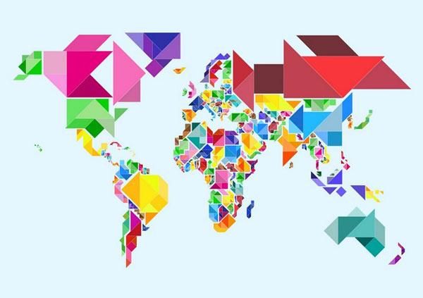 خرائط مجنونة لعالمنا المجنون وكما يقولون الجنون فنون Tangram-abstract-world-map