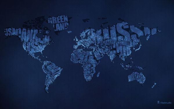 خرائط مجنونة لعالمنا المجنون وكما يقولون الجنون فنون Typographic_world_map