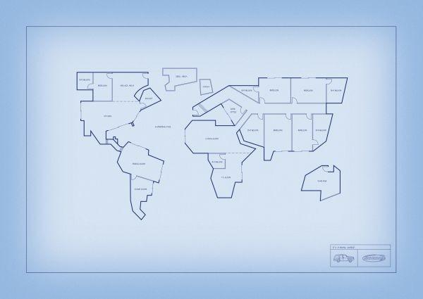 خرائط مجنونة لعالمنا المجنون وكما يقولون الجنون فنون World-map-blueprints