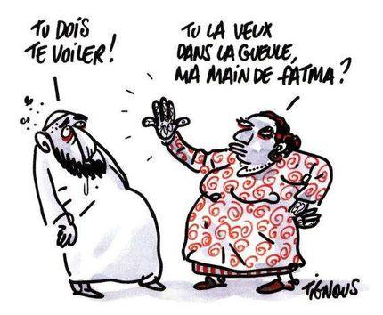 Mahomet (pas de paix pour lui) et les femmes - Page 11 Caricature-tignous-islam