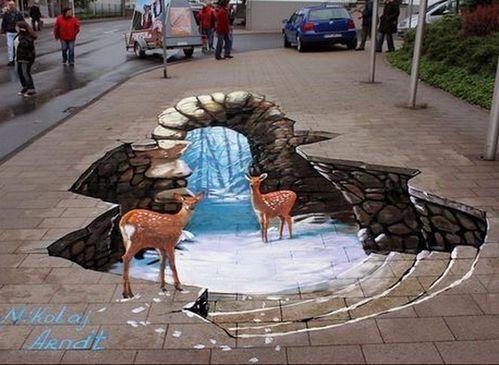 Les peinture 3d au sols  Illusion-d-optique-dans-la-rue-des-biches-pres-de-l-eau-dr_