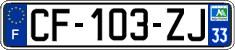 Plaques d'immatriculation des Renault Megane III 5 portes avec radar embarqué CF-103-ZJ-33
