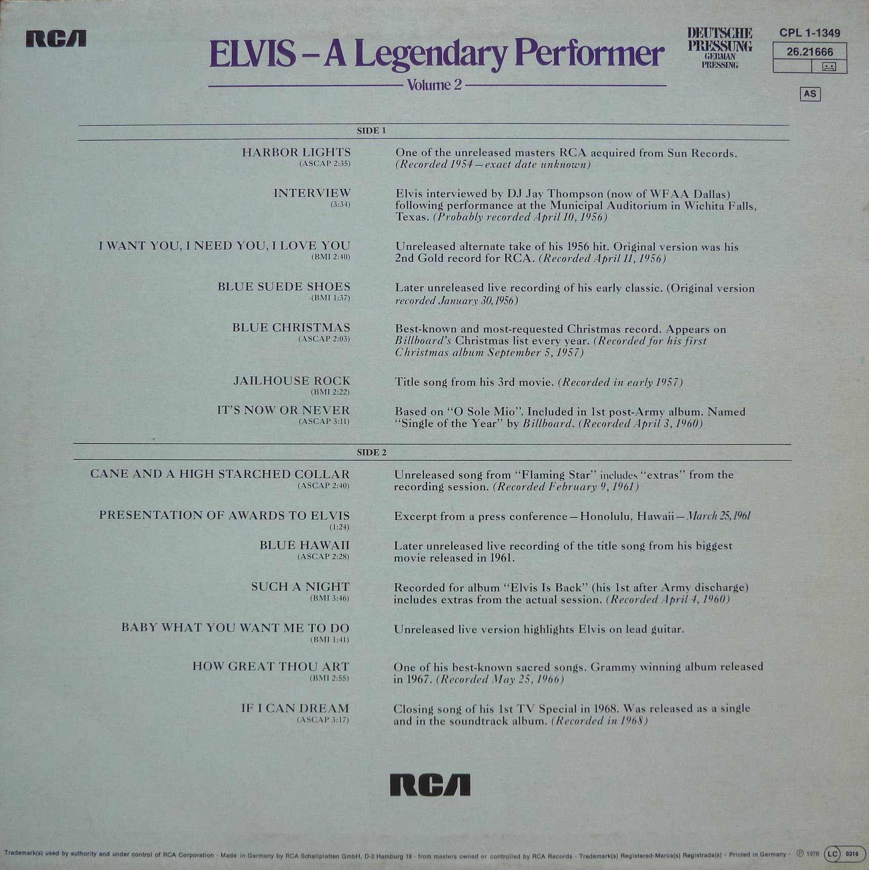 A LEGENDARY PERFORMER - VOLUME 2 Alegendaryperfvol277r1af0o