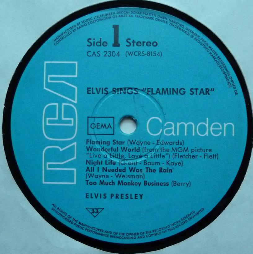 RCA LP-Label-Spiegel der Bundesrepublik Deutschland Flamingstar69label1dwzqs
