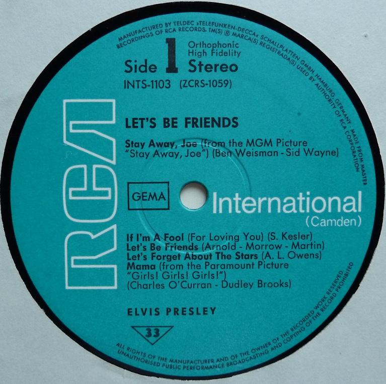 RCA LP-Label-Spiegel der Bundesrepublik Deutschland Friends70side1wujz5