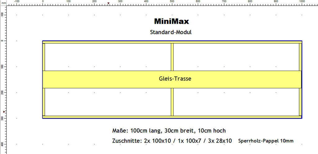 Module 100 x 30cm - Petit, court et beau Standardmodul60xob