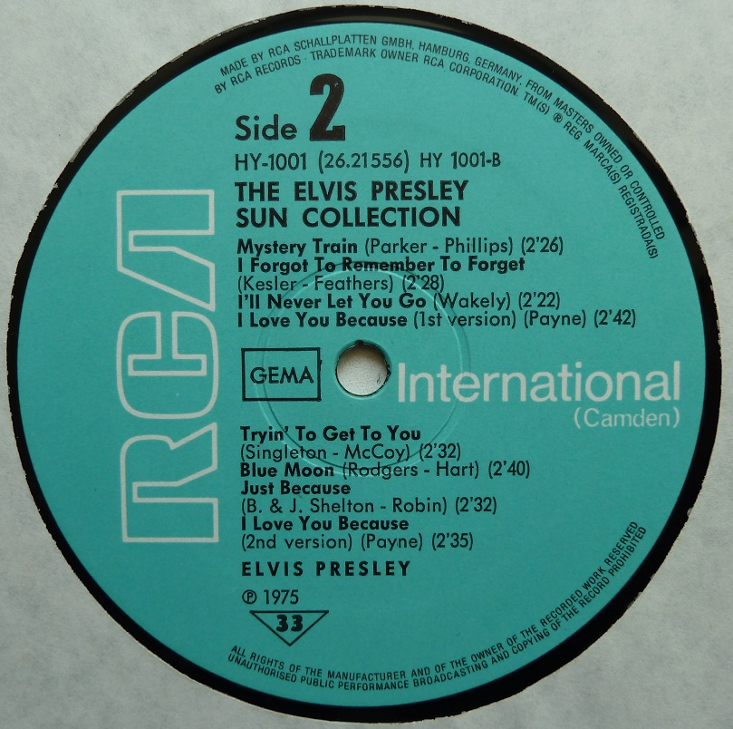 THE ELVIS PRESLEY SUN COLLECTION Suncoll75dside24muje