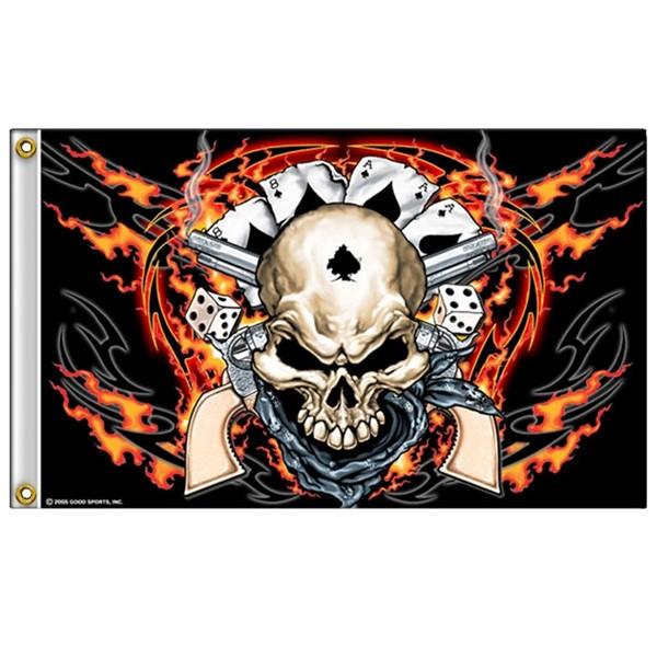 Accessoires de Bikers Drapeaux-dead-man-skull