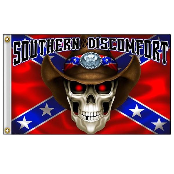 Accessoires de Bikers Drapeaux-southern-discomfort-skull