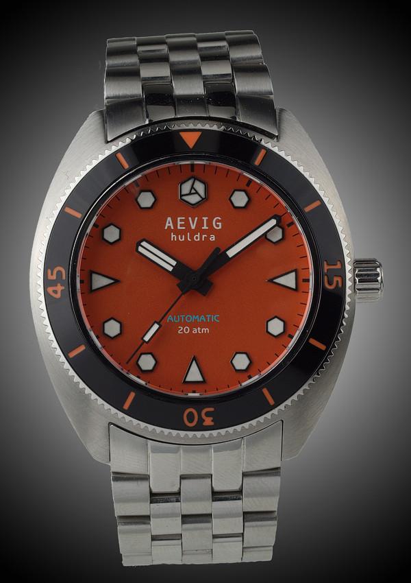 DIVER - (nouveauté) Aevig Retro diver Orange_Huldra_front-600x850