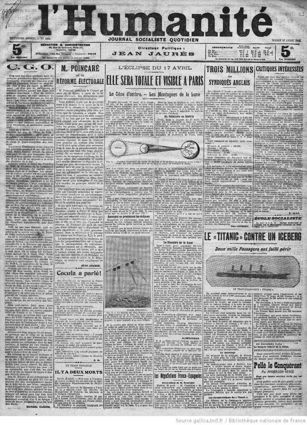 Tous les passagers ont été sauvés - Page 2 1912-04-16%20l%20humanite%201