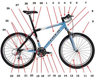 Наименования узлов и деталей велосипеда Scheme