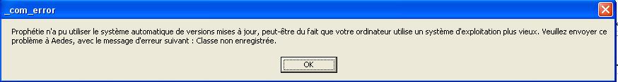web patch et classe non enregistrée _com_error